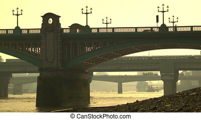 Traffic on the bridges of London, Southwark Bridge, London...