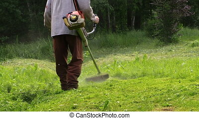 "worker trimming lawn - ""zoom out of gardener with protective..."