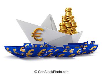 Paper boat euro