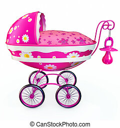 Pink pram - Classic cartoonish pink pram on a white...