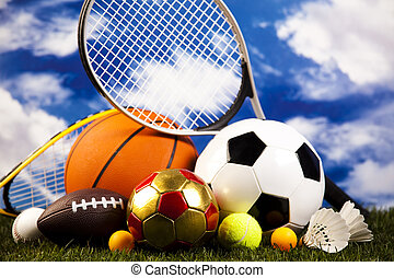 Sports balls with equipment, natural colorful tone
