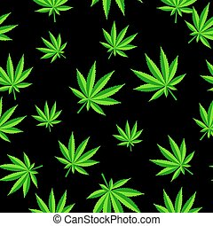 Abstract Cannabis Seamless Pattern Background Vector...