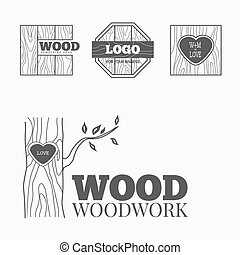 Wood products logo vector - Woodworking badges logos and...