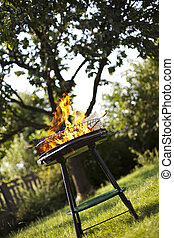 Grill flame, hot burning grill