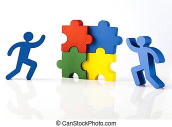 Conceptual image of teamwork, natural colorful tone