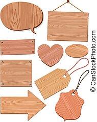 Set Of Woodgrain Icons - Set of woodgrain icons with speech...