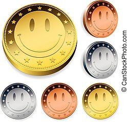 Coin Or Token Set With Smiley Face - A set of three round...