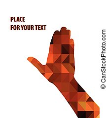 silhouette of a mens hand on brown triangles background