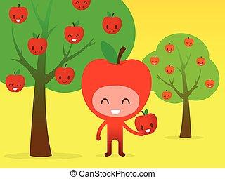 Smiling Apple Picking Fruit