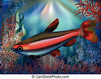 Underwater wallpaper tropical fish, vector
