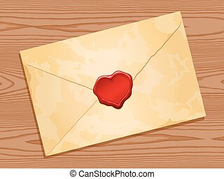 envelope with heart wax seal wood
