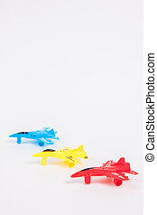 Toy Plane on White paper Background