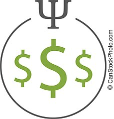 Business psychology logo. Three dollar signs in a circle...