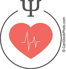 Health psychology logo. Red heart with cardiogram in a...
