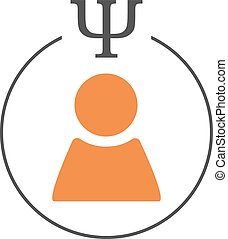 Psychology of personality logo. Person sign in a circle with...