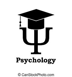 Psychology learning. Black Psi letter with graduation hat on...