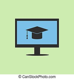 E-learning symbol with computer and graduation cap