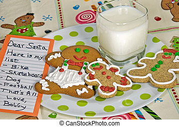 Wish List - Holiday wish list with milk and cookies.