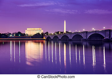 Washington DC Monuments on the Potomac - Washington, DC...