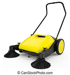 Sweeper with black plastic and yellow metal on a white...