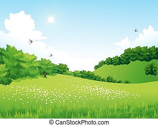 Green Landscape with trees, clouds, flowers - Vector Green...