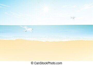 Seascape vector illustration.