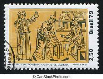 Physician Tending Patient - BRAZIL - CIRCA 1979: