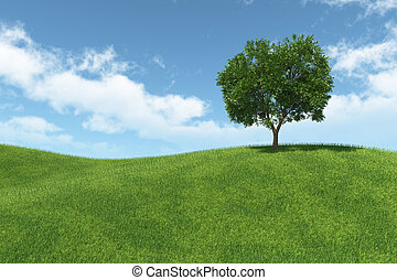 landscape with isolated tree on green meadow