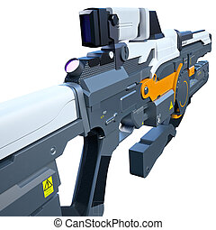 Futuristic weapon - Back view of the assault rifle for...