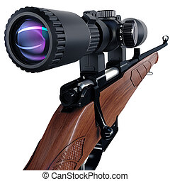 Huntsman old-fashioned weapon - Back view on sniper scope of...