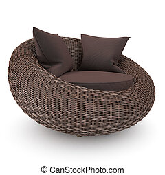 Modern rattan chair - Rattan chair left view with soft...