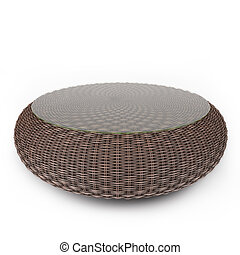 Rattan table on a white background with glass, on a white...