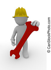 Construction man with a red wrench