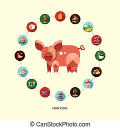 Set of modern flat design farm and agriculture icons - Set...