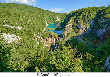 Fantastic view in the Plitvice Lakes National Park . Croatia bright sunny day