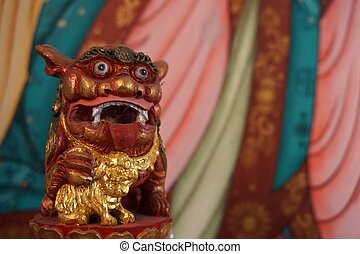 sculpture of Chinese lion art - small Chiense sculpture lion...