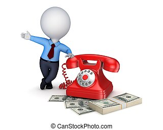 Vintage telephone and stack of money. - 3d small person near...