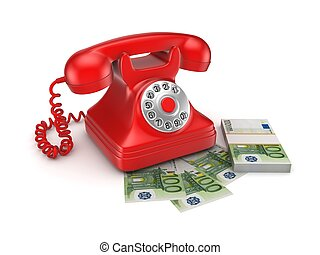 Vintage telephone and big pack of money