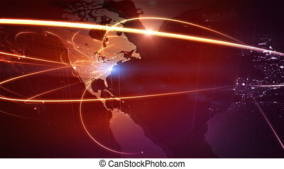 Global business network Loop - Loopable red map with network...