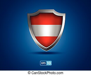 Austria shield on the blue background