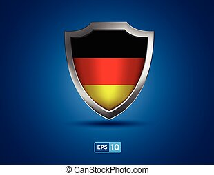 Germany shield on the blue background