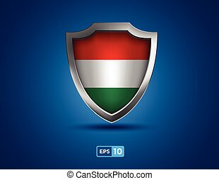 Hungary shield on the blue background