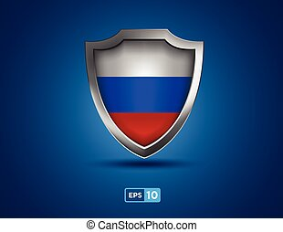 Russia shield on the blue background