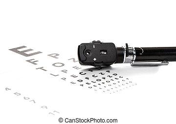 ophthalmoscope, es, en, Un, visión, prueba,