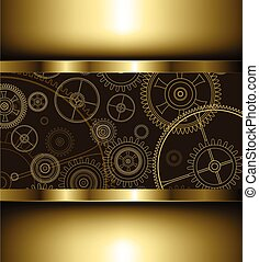 Background with technology gears golden, vector illustration...