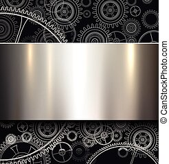 Background with technology gears and metallic shiny banner,...