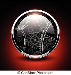 Shiny button glossy metallic with vector machinery inside