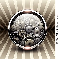 Background 3d, shiny button with machinery gears inside,...
