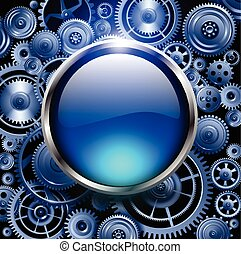 Background - Blue glossy button on gears background, vector...