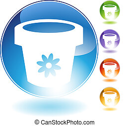 Flower Pot Crystal Icon - Flower pot crystal icon isolated...